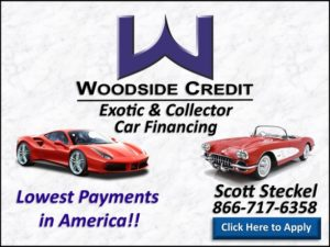 "Johnston Motorsports, Woodside Credit. Image reads ""Woodside Credit, Exotic & Collector Car Financing. Lowest Payments in America. Scott Steckel 816-717-6358. Click Here to Apply"""